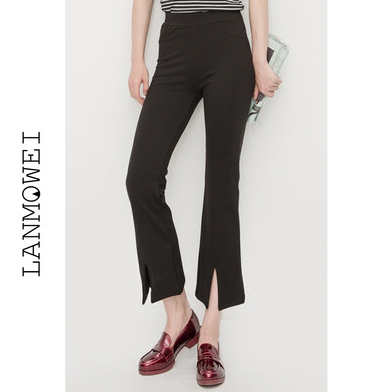 Korean autumn summer thin slit micro flared pants womens nine point high waist slim Wide Leg Pants Black Slim casual pants