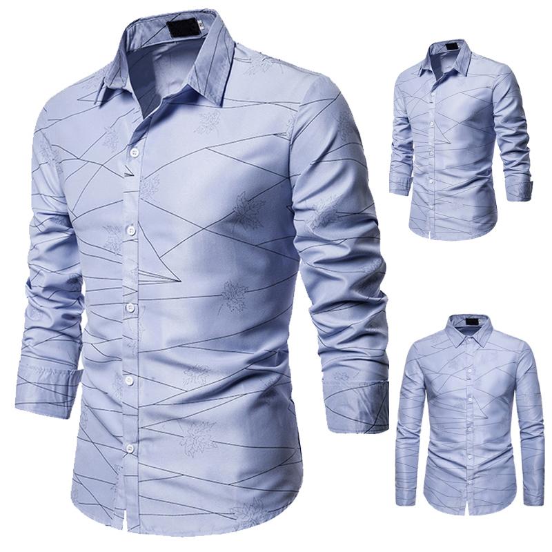 秋季新款  线条图案装饰休闲设计跨境男式翻领长袖衬衫S103/40