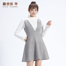 尚州2017秋季新品圆环装饰羊毛高腰修身显瘦背带连衣裙女GQL078