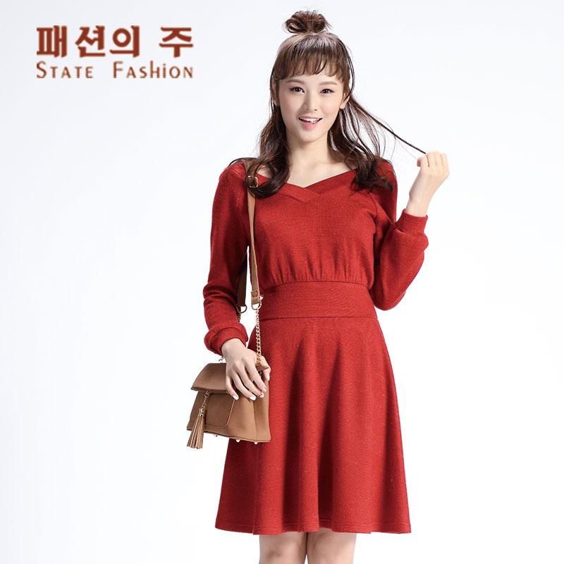 尚州2017秋季新品羊毛混纺V领收腰长袖百褶连衣裙女GQL290