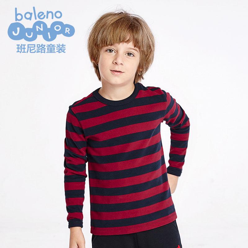 班尼路2016年  男童純棉圓領條紋長袖 兒童秋款舒適外套