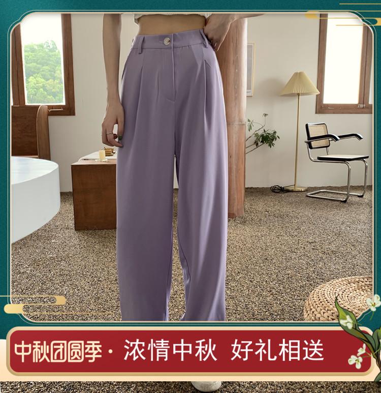 新款其他风格时尚顺滑轻薄休闲裤裤女运动裤高腰腿感阔裤夏女腿阔