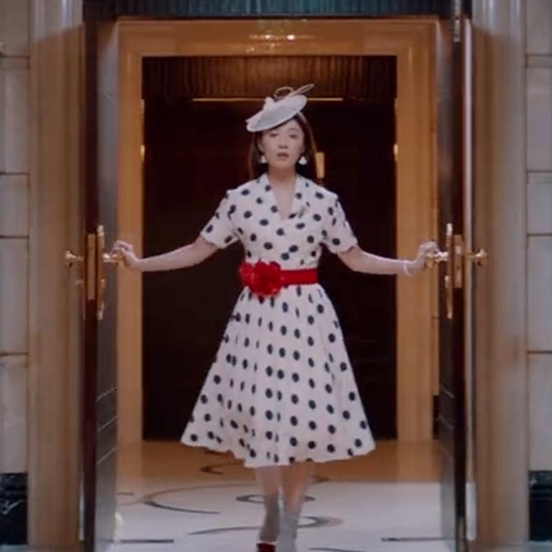 《古董局中局》木户加奈田中千绘明星同款圆点修身连衣裙