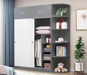 实木衣柜卧室推拉门收纳衣柜现代简约经济型柜子板式组装简易衣橱