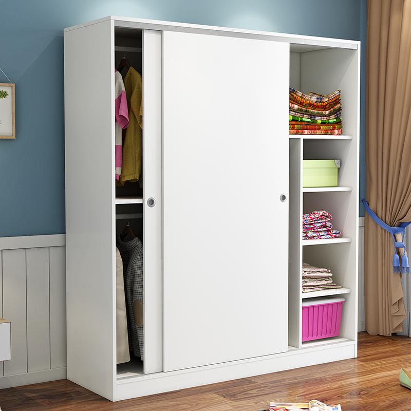 简约经济型现代推拉门衣柜2门简易组装木质移门衣橱实木板式卧室