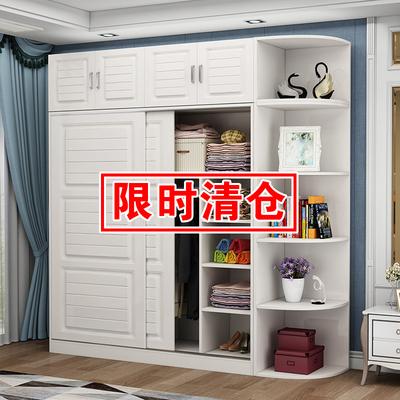 欧式推拉门衣柜实木现代简约家用经济型衣橱卧室移门出租房用衣柜