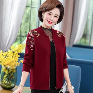 新款妈妈外套春秋洋气毛衣羊绒针织短款夹克上衣40-50岁中年女装
