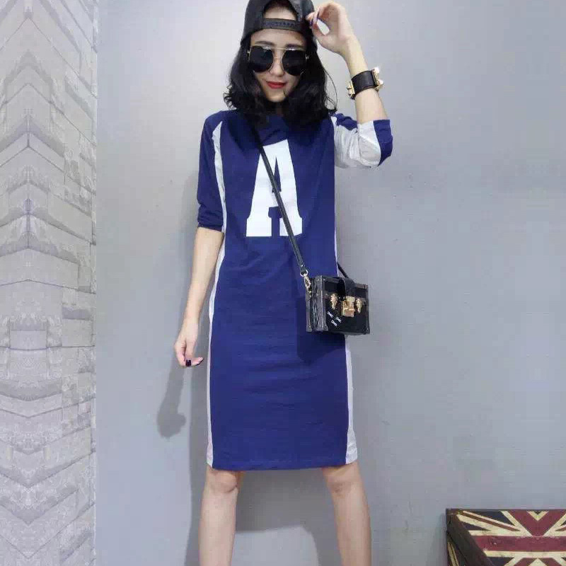 2021 Europe station spring and summer new European womens fashion brand long t show thin large size long sleeve T-shirt bottom dress