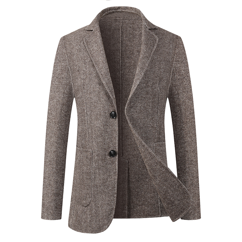 Large double faced suit for mens fattening and spring tide fat wool casual suit cashmere Nizi coat short coat winter
