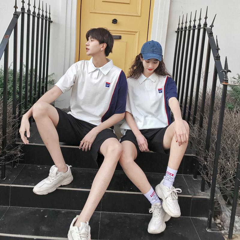 情侣装夏季翻领短袖T恤套装男女青年宽松短裤Q066-短袖35,短裤35