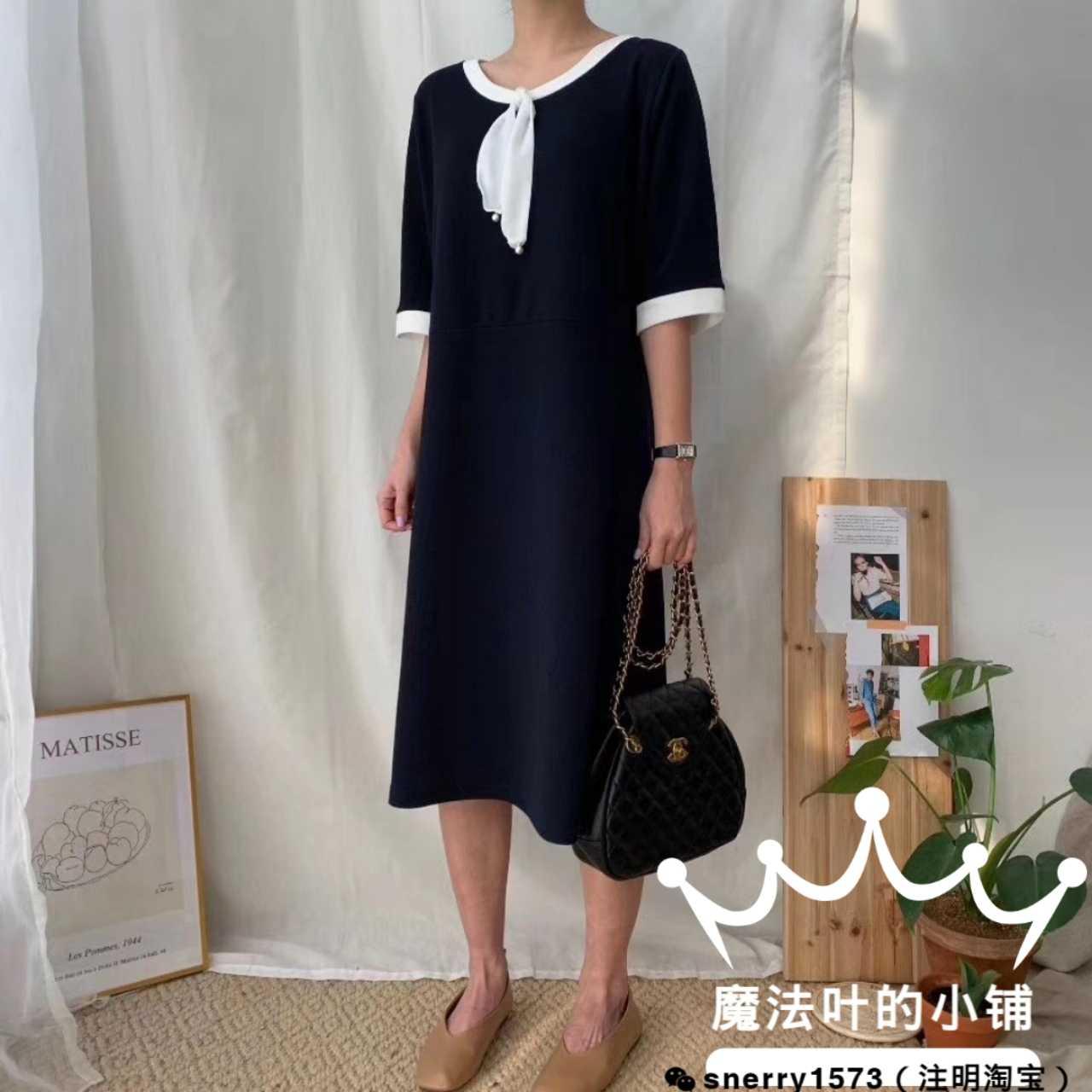 【魔法叶】2020春韩国东大门正品服装代购中袖及膝连衣裙均码大码
