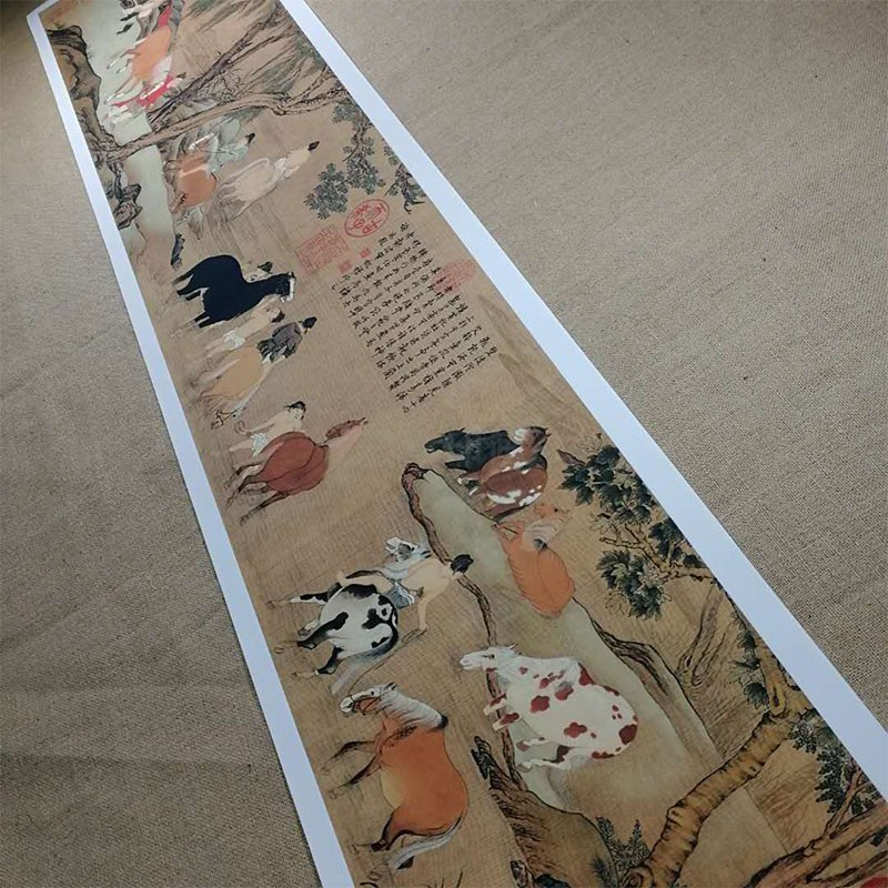 趙孟浴馬圖仿古馬獸國畫復制品厚宣紙長卷臨摹裝飾貼畫高清字畫