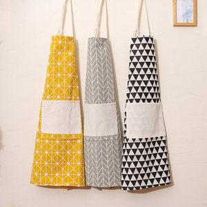 日系棉麻圍裙簡約北歐時尚防油做飯圍腰廚房成人家居防油罩衣包郵