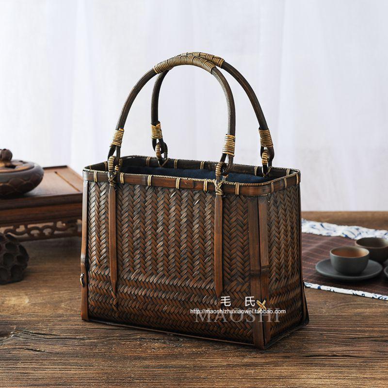 手工日式竹编包 手提包女文艺茶道手拎包 茶人禅意便携茶具收纳包