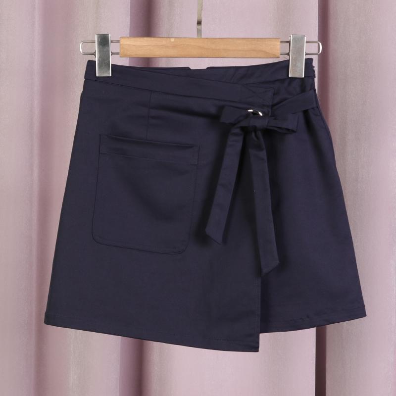 【秋二波】品牌折扣女装2019新款春9F1291甜美优雅系带不对称短裙