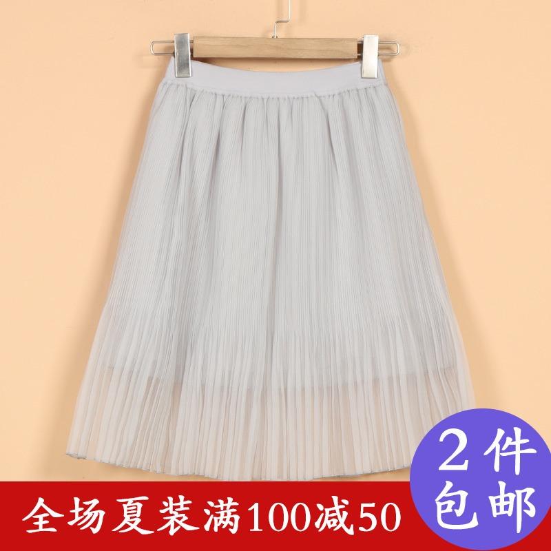 【太】品牌折扣18夏新款女8T2068韩范收腰时尚百褶雪纺半身裙