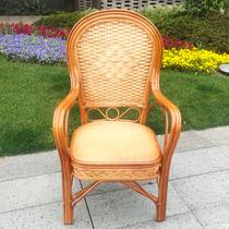 藤椅老人椅高靠背户外休闲阳台办公麻将椅印尼天然单人真藤椅子