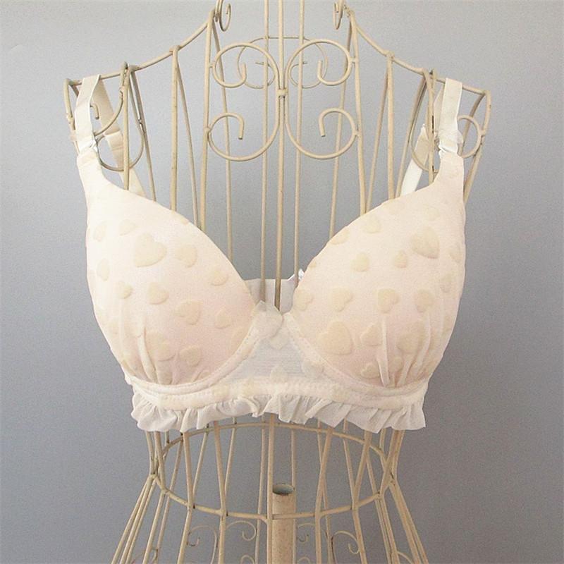 艾格伊品专柜正品甜美少女爱心木耳边纯色胸罩内衣文胸 150767061