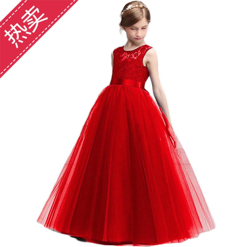 2020夏季新款儿童无袖蕾丝婚纱长裙