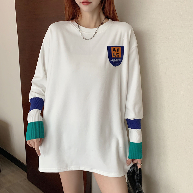 European station 2021 spring loose bottoming shirt T-shirt women's mid-length white plus velvet lined cotton long-sleeved top