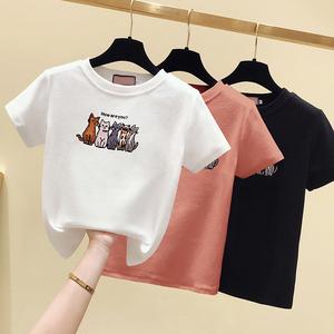 纯棉短袖猫咪刺绣白色T恤女2020夏季新款修身显瘦体恤ins学生上衣