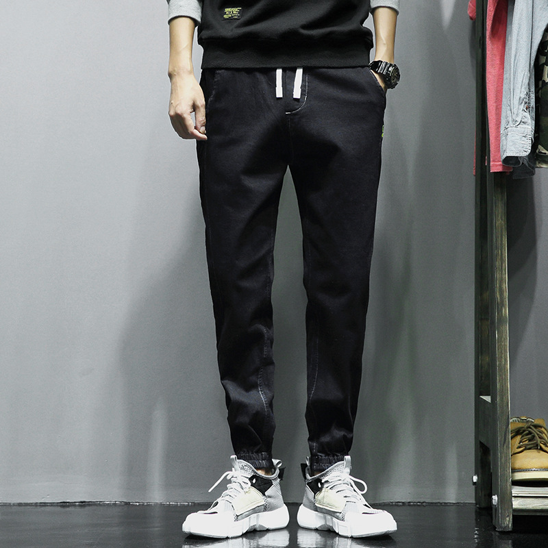 New mens loose jeans youth pants Korean version of foot closing overalls elastic plus size casual pants