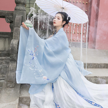 Return to the Han and Tang Dynasty's traditional dress with graceful makeup and women's traditional big sleeves, original Chinese style, everyday embroidered cloak jacket in spring and summer