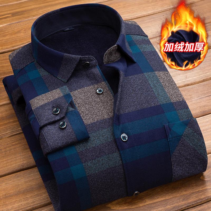 冬季男士保暖衬衫长袖加绒加厚韩版修身休闲中年爸爸装格子衬衣土图片