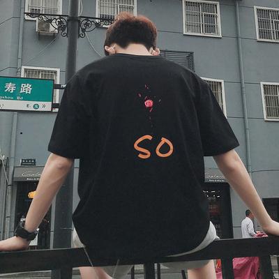 2018港风日系休闲情侣店主玫瑰花印花宽松短袖T恤 B211-T863-P35