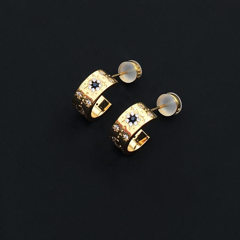 Send girlfriend round simple Earrings female anti allergy Roman style star moon pattern ring retro Earrings Diamond Earrings