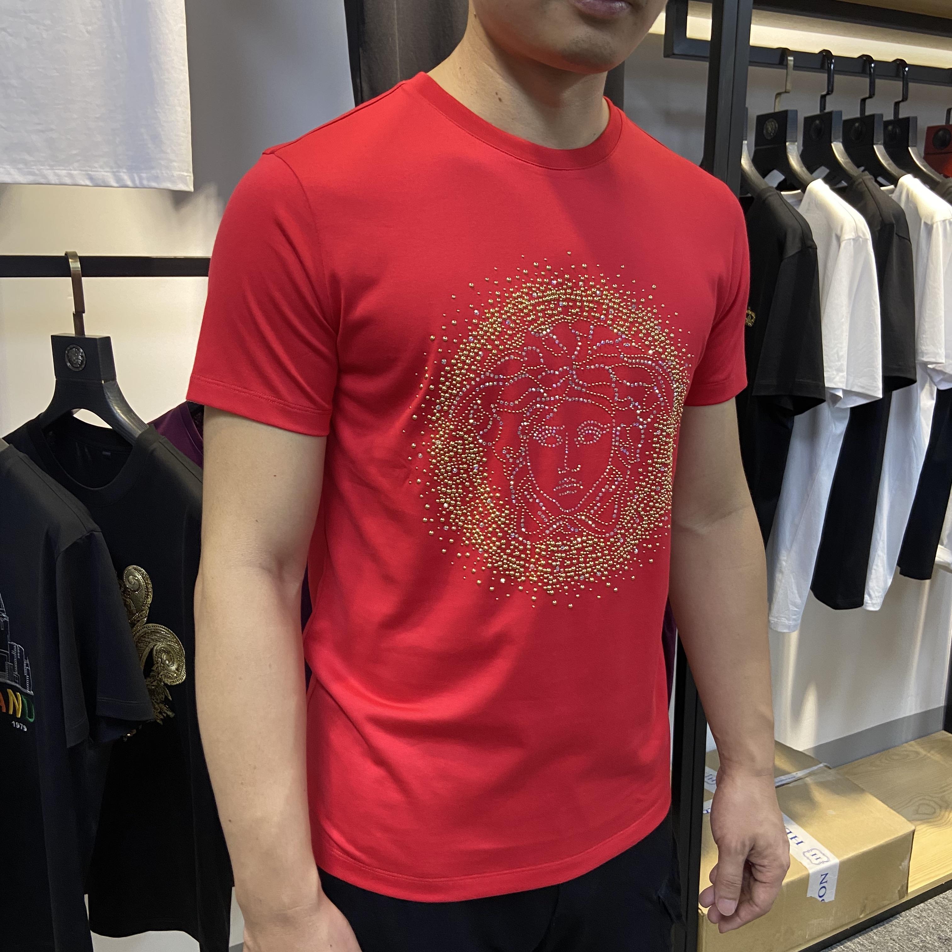 2020棉毛布时尚都市新款欧洲站潮牌烫钻美杜莎夏装男短T桖短袖男