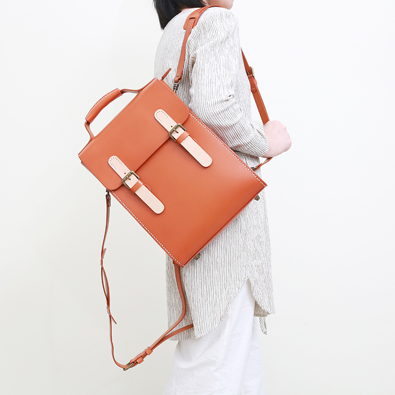 Jianshan retro manual original design color matching vegetable tanned cow leather backpack literature and art lady leather computer bag