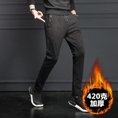 44781男韩版专柜高档加厚休闲男裤不加绒黑色修身运动裤男长裤p90