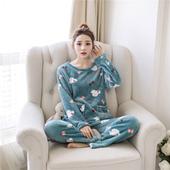 圆领韩版 长袖 可爱大码 加厚珊瑚绒套装 睡衣女冬季 家居服法兰绒女式