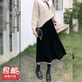 夏大大气质高腰丝绒半裙2020年秋冬新款大码女装胖mm宽松遮肉裙子