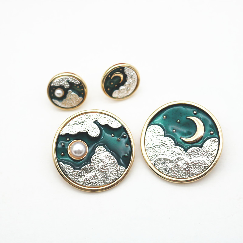 Embracing the sun, the moon, the universe, the starry sky brooch, 925 Silver Enamel asymmetric earrings, exquisite retro Brooch