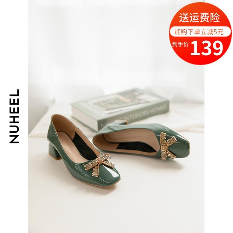 如熙中跟方头浅口单鞋女士2020夏季新款优雅蝴蝶结粗跟百搭女鞋