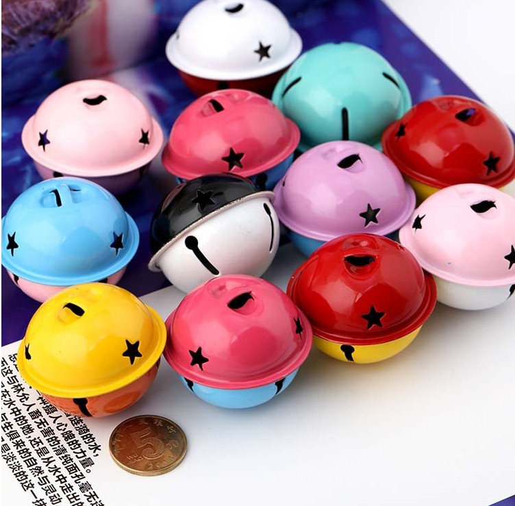 4cm two color bell baking paint candy color big bell Keychain pendant accessories DIY hand doll material