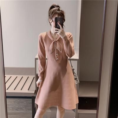 秋冬新款a字针织连衣裙女收腰长袖小个子气质裙子显瘦名媛小香风