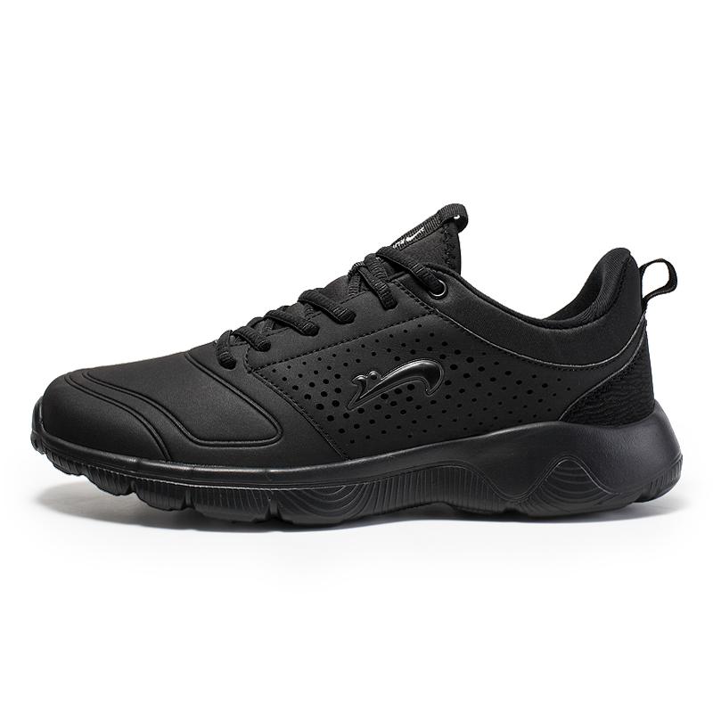 贵人鸟男鞋秋冬季跑步运动鞋皮面透气休闲旅游鞋F83207-1黑图片