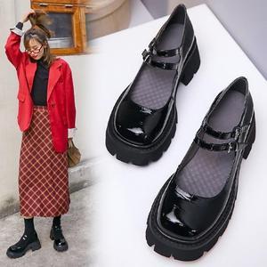 一字双排扣小皮鞋女2020春款复古英伦松糕鞋厚底单鞋圆头乐福鞋潮