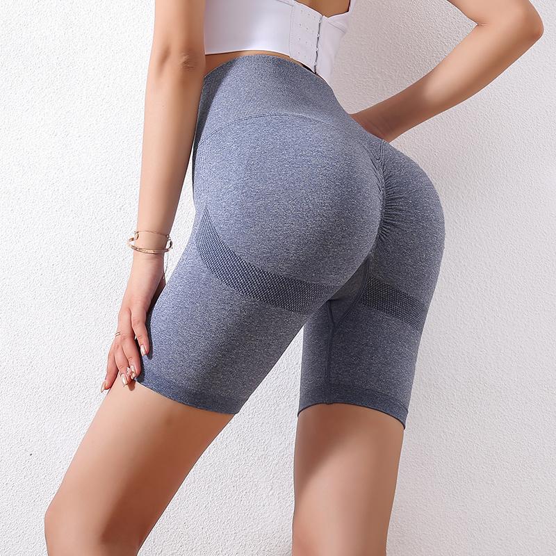 夏季网红蜜桃臀微笑健身高腰短裤
