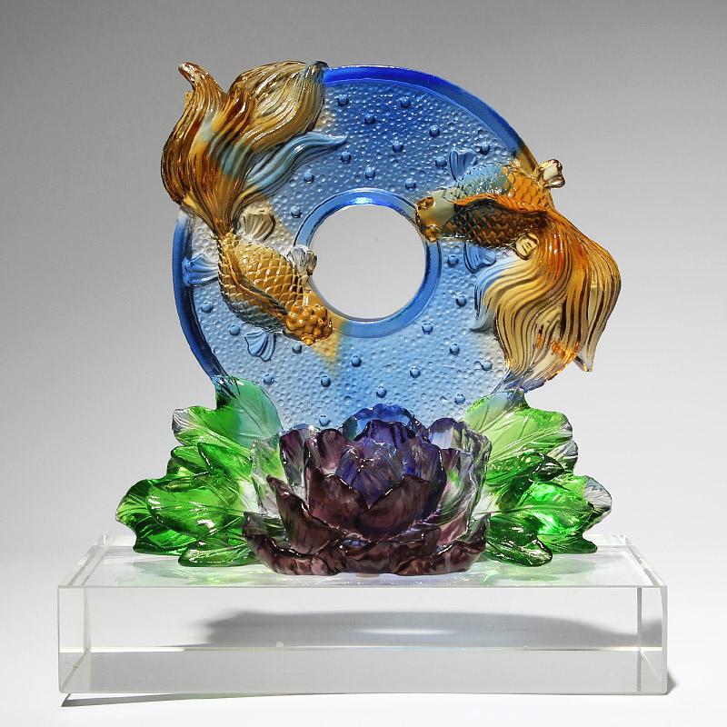 玻璃工艺品摆件水晶琉璃鱼拜访送国外客户礼品暖房礼物 乔迁新居
