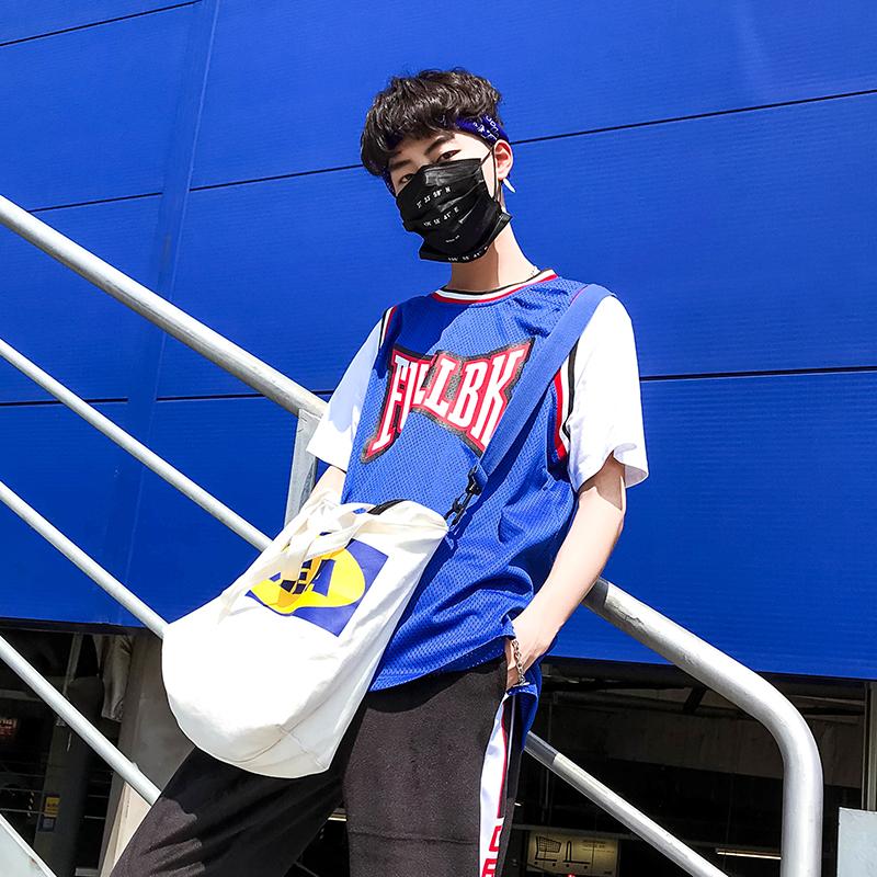 青少年嘻哈拼色短袖T恤夏季假两件印花篮球小子网眼运动休闲班服