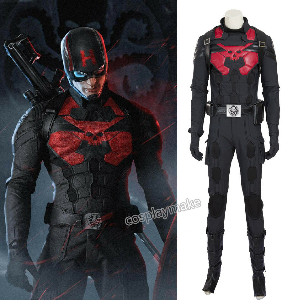 Purchase of Marvel US captain Hydra Cosplay clothing customized luxury suit mask free shoes new