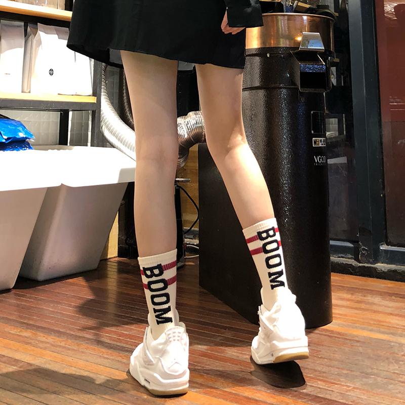 袜子男女中筒袜夏季薄款街头风ins潮袜韩版百搭纯棉夏季薄长筒袜