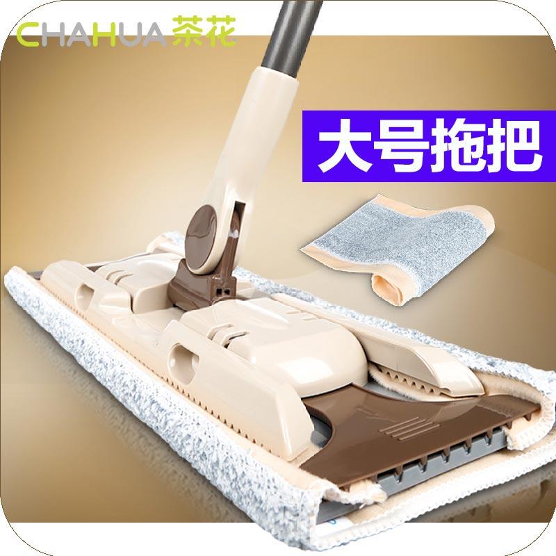 茶花平板拖把木地板 家用旋转地拖替换布蜂影夹固式干湿两用墩布