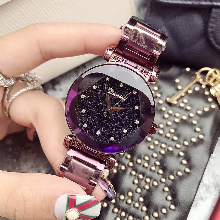 Chaopai net red purple womens shell diamond scale stainless steel watch with star chassis watch durable womens Watch