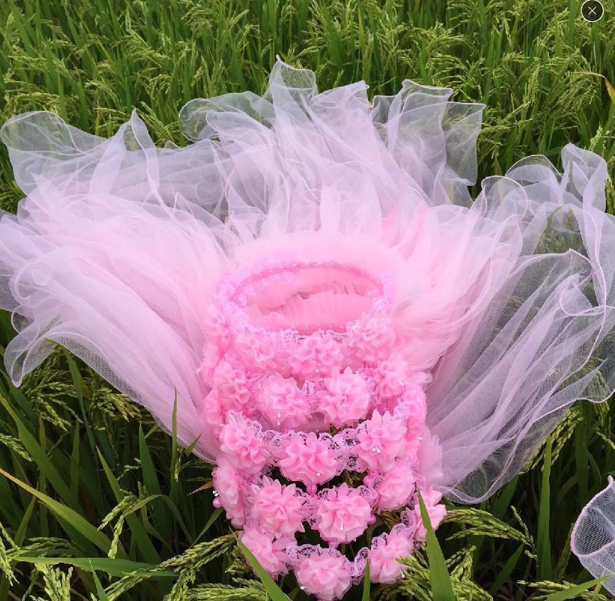 Childrens headdress crown headdress wreath colorful big bow Princess flower child crown veil headdress performance wreath