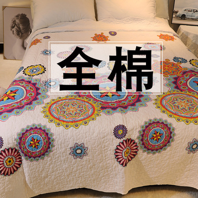Summer Korean bed cover cotton quilted cushion quilt with dual-use four seasons universal cotton double-sided tatami single piece
